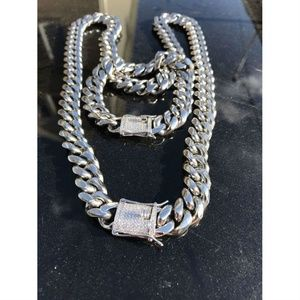 Harlembling Silver Diamond Bracelet & Chain Set